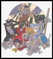 poorly cartoonized Lupin Gang by lshikawaGoemon