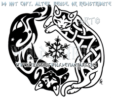 Yin Yang Cats And Snowflake Design by WildSpiritWolf