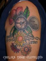 Watch, Dogwood, and Daiseys - Tattoo by Chelsea by SmilinPirateTattoo