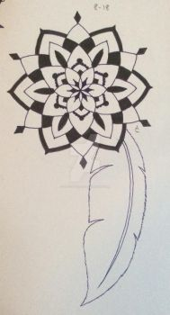 Mandala and feather 2 by LadyCelticRose