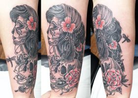 Day of the dead gypsy head and skull by Ashtonbkeje