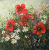 POPPIES-DAISIES by Hydrangeas