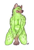 Green Hyena Anthro by Korrok