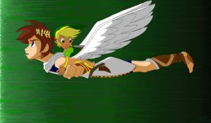 Toon Link and Pit Flight by BlueLink