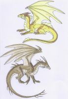 Gold and Bronze Elder Dragons by Scatha-the-Worm