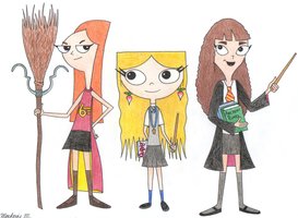 Phineas and Ferb Girls meet Harry Potter Girls by MackCat