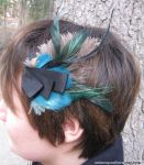 Shades of green feather fascinator by Animus-Panthera
