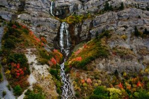 Bridal Vail Falls in Autumn by mikewheels