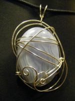 free form blue lace agate pendant by BacktoEarthCreations