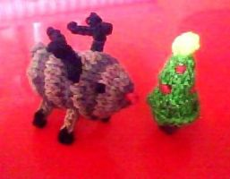 Tiny reindeer and tiny Christmas tree by hatterfox