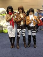 Zenkaikon 2014 Levi, Mikasa, and Eren cosplayers by odieluvnikki
