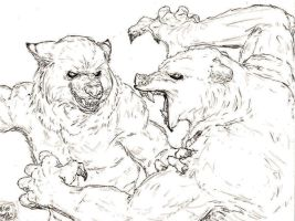 Bear vs. Wolf Sketch by WoundStitchings