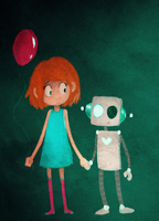 A girl and her robot by schellibie