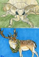 Silkmoth and White-tailed Deer by Soulful-Purple-Wolf