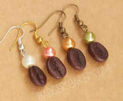 coffee bean earrings - new colors by BadgersBakery
