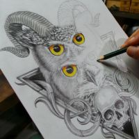 Horned Owl pencil drawing by fourspeedindonesia