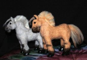 Needle Felted Fjord Horses by The-GoblinQueen