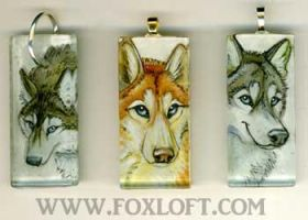 3 Huskies - Glass Pendants by Foxfeather248