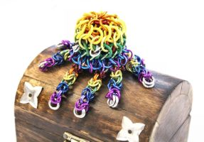 Rainbow Chainmaille Octopus by SerenFey
