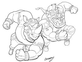 BEBOP and ROCKSTEADY bw inks by DadaHyena