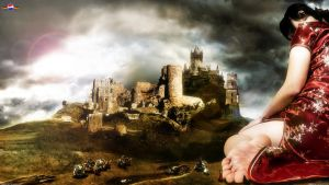 giantess at a castle by megakorean