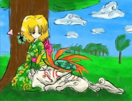 Okami: Yuri and Amaterasu by Jeffanime