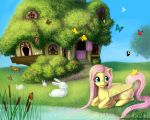Fluttershy at Home by LaurenMagpie