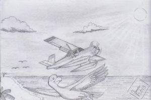 A Seaplane and the Seagull by SammfeatBlueheart