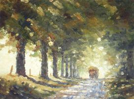 Shaded Lane with Hay Wagon by litka