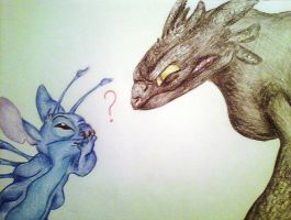Stitch and Toothless by Je93xo