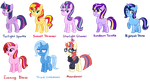 Twilight Sparkle Synonyms, Trixie, and Moondancer by TheCheeseburger