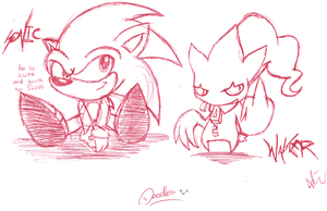 Doodle Sketches in red pen by GamistTH