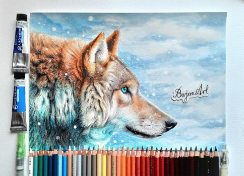 Wolf fantasy drawing by Bajan-Art