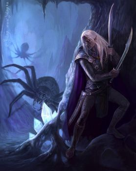 In the Cave - Drizzt Do'Urden by CG-Warrior