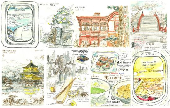 #141-148 A Trip to Kansai sketches by tinashan