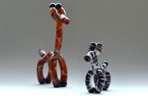 Glass Giraffe and Zebra Balloon Animal Pendants by cold-in-the-north