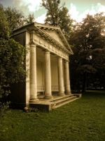 Premade Background Doric Temple in Autumn by VIRGOLINEDANCER1