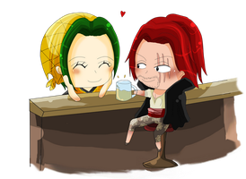 Makino and Shanks chibi by WataruAvril