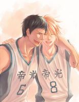 Aomine*Kise in Teikou school by Lul-lulla