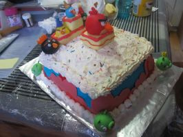 Angry Birds Birthday Cake - the side by Leara