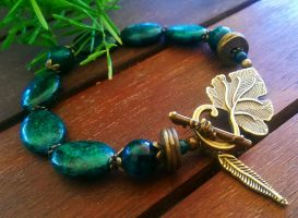 Antique bronze Natural Chrysocolla, blue, green, b by DesignsByCheree