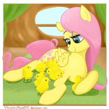 Fluttershy with baby chicks by VincentJiang0V0