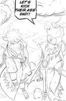 Father and son on the same battlefield: lineart by Feiuccia