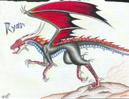 Red and Black Raptor Dragon... by Talonclawfange