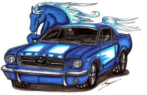 Ford Mustang  blue horse by Lowrider-Girl