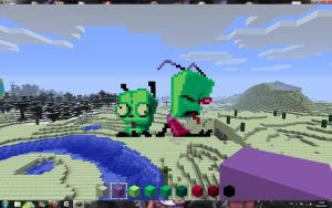 Zim and G.I.R. in Minecraft by MoonprincessofDoom