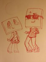 Speckled Canvas Mascots: Perry and Prisma by FreckledAndSpeckled