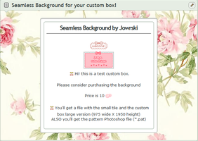 Roses custom box background + pattern (*.pat )file by Jowrski