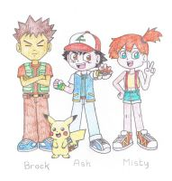 Ash, Misty and Brock by TheAwesomeWorld