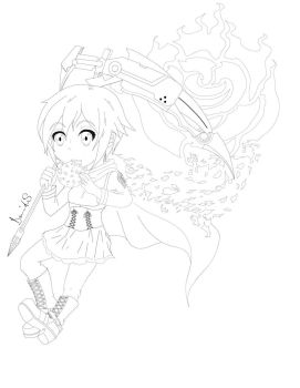 Chibi Ruby Rose (Line-art) Preview by Banshee32